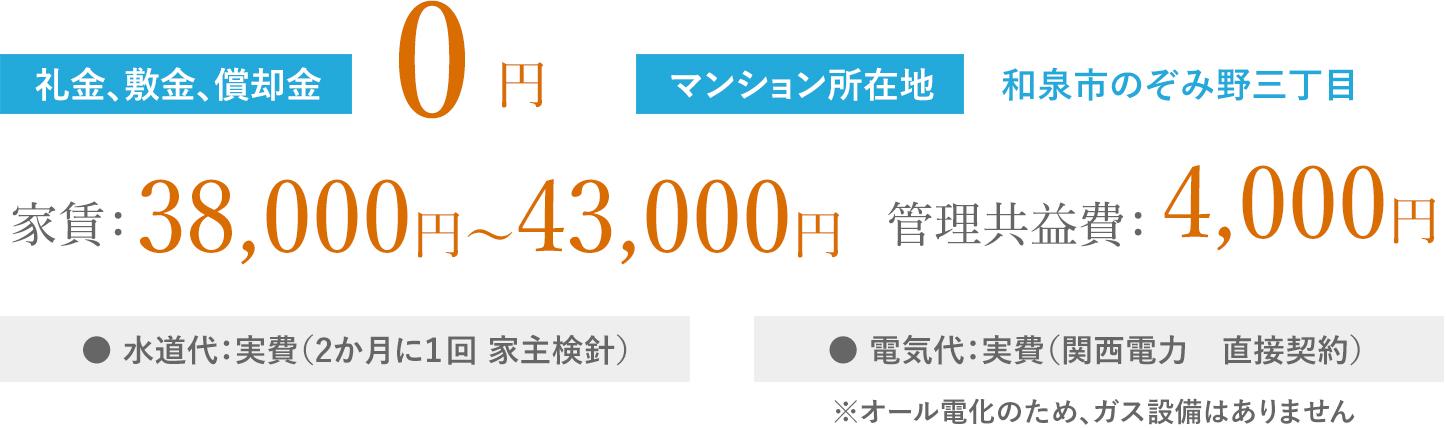 家賃:36,000円~41,000円 管理共益費:4,000円